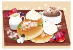 bear beige_background bird blue_berry border chai chocolate commentary_request cream food fruit highres honey ice_cream jug mint no_humans original painttool_sai_(medium) pancake penguin plate powdered_sugar raspberry simple_background sitting sitting_on_food strawberry