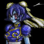 1girl bangs black_background blue_hair blue_skin blush_stickers borockman breasts bun_cover capcom china_dress chinese_clothes chun-li chun-li_(cosplay) commentary_request company_connection cosplay dress eyebrows_visible_through_hair lei_lei looking_at_viewer puffy_short_sleeves puffy_sleeves sash short_hair short_sleeves signature simple_background solo street_fighter vampire_(game) violet_eyes zombie