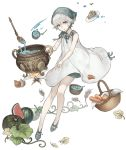 1girl basket bonnet cake carrot child cooking dress eyebrows_visible_through_hair food fruit full_body green_eyes ji_no ladle looking_at_viewer melon nier nier_(series) official_art onion pot sinoalice solo soup soup_ladle spoon transparent_background watermelon wheat white_dress white_hair yonah