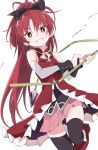 1girl black_bow black_legwear blush bow eyebrows_visible_through_hair hair_bow holding holding_weapon ixy long_hair looking_at_viewer magical_girl mahou_shoujo_madoka_magica pink_skirt ponytail red_eyes redhead sakura_kyouko simple_background skirt smile solo thigh-highs weapon white_background