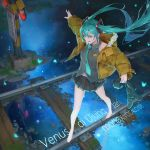 1girl aqua_eyes aqua_hair aqua_neckwear baraba_baba barefoot cytus grey_vest hair_between_eyes hatsune_miku holding_boots long_hair necktie outstretched_arm photoshop_(medium) railroad_crossing railroad_tracks reflection solo solo_focus twintails vest vocaloid