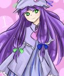1girl absurdres alternate_color bags_under_eyes blue_bow bow bright_pupils dress green_bow green_eyes highres long_hair number patchouli_knowledge pink_background pink_neckwear purple_dress purple_hair smile solo tem_(insomnia_tem) touhou white_frills white_pupils