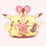 1boy 1girl bottle bow clothed_pokemon couple gen_1_pokemon holding holding_bottle looking_away mei_(maysroom) one_eye_closed outline pikachu pink_background pokemon scarf shared_scarf sitting striped striped_background tagme touching_ears