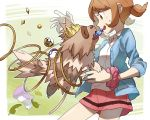 1girl bangs brown_eyes brown_hair collared_shirt commentary_request donnpati eyebrows_visible_through_hair gen_3_pokemon great_ball hair_tie lass_(pokemon) leaf looking_down open_mouth pink_skirt poke_ball pokemon pokemon_(creature) pokemon_(game) pokemon_oras potion_(pokemon) rare_candy scrunchie shirt skirt teeth tied_hair ultra_ball upper_teeth white_shirt wrist_scrunchie zigzagoon