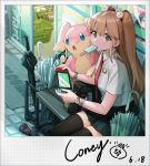 1girl absurdres audino bangs bench black_legwear black_skirt brown_hair buttons coca-cola collared_shirt commentary_request coney food gen_5_pokemon hair_ornament highres holding long_hair mouth_hold necktie nintendo_switch outdoors pokemon pokemon_(creature) popsicle red_neckwear shiny shiny_hair shirt sitting skirt thigh-highs tin_can umbrella watch watch welcome_mat white_shirt