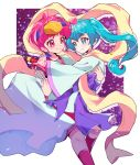 2girls alternate_costume aqua_eyes aqua_hair carrying eru hagoromo hagoromo_lala hoshina_hikaru looking_at_another multiple_girls ninja pink_eyes pink_hair pointy_ears precure princess_carry shawl short_hair smile star_(symbol) star_in_eye star_twinkle_precure starry_background sword symbol_in_eye twintails weapon yuri