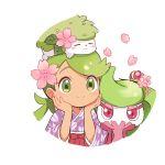 1girl alternate_costume closed_eyes dark_skin falling_petals flower gen_7_pokemon green_eyes green_hair hair_flower hair_ornament japanese_clothes kimono mao_(pokemon) mei_(maysroom) on_head pink_eyes pokemon pokemon_(creature) pokemon_on_head tagme tareme tsareena