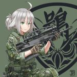 1girl ahoge anti-materiel_rifle bipod bulletproof_vest camouflage gepard_gm6_lynx gloves green_eyes gun highres jpc military original ponytail rifle scope silver_hair sitting sniper_rifle weapon