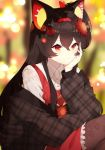 1girl animal_ears bangs blouse blurry blurry_background breasts brown_blouse brown_hair cat_ears dress eyebrows_visible_through_hair flower frilled_shirt frilled_skirt frills hair_flower hair_ornament hands headband long_hair original red_eyes red_skirt sakotach shirt simple_background skirt small_breasts smile solo thigh-highs upper_body white_shirt