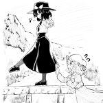 berusuke_(beru_no_su) clip_studio_paint_(medium) happy holding_dress maribel_hearn mary_janes musical_note outdoors shoes stone_wall touhou usami_renko walking wall