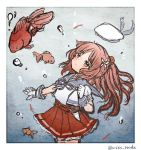 1girl blue_sailor_collar brown_eyes brown_hair commentary_request cowboy_shot fish flower gloves goldfish hair_flower hair_ornament hat hat_removed headwear_removed hip_vent kantai_collection long_hair looking_up pleated_skirt puffy_short_sleeves puffy_sleeves red_skirt sailor_collar sailor_hat sailor_shirt school_uniform shirt short_sleeves skirt twitter_username white_gloves white_headwear white_shirt wss_(nicoseiga19993411) yashiro_(kantai_collection)