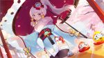 1girl architecture blue_eyes butterfly_hair_ornament cherry_blossoms daruma_doll east_asian_architecture fur_collar genshin_impact hair_ornament highres japanese_clothes kamisato_ayaka_(genshin_impact) kimono mouth_hold official_art oriental_umbrella ponytail sash silver_hair solo thigh-highs umbrella zettai_ryouiki