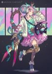 1girl armor bow crown double_bun dripping english_text frills fur_jacket gauntlets greaves hair_bun headphones highres jacket kusano_shinta long_hair original parted_lips photoshop_(medium) pink_bow pink_eyes pink_hair pose scissors shoes smile sneakers socks solo stuffed_toy w weapon weapon_on_back white_jacket zipper zipper_pull_tab