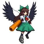 1girl arm_cannon bird_wings black_footwear black_frills black_wings blouse bow brown_hair cape collared_blouse control_rod eyebrows_visible_through_hair frilled_skirt frills green_bow green_skirt hair_bow long_hair lowres mismatched_footwear pixel_art red_eyes reiuji_utsuho short_sleeves simple_background skirt smile solo starry_sky_print third_eye touhou tsukimiya_toito v-shaped_eyebrows weapon white_background white_blouse wings