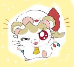 :3 animalization bow crystal flandre_scarlet fua_yuu hamster hamtaro hat hat_ribbon one_eye_closed red_bow red_eyes ribbon side_ponytail solo touhou white_headwear wings yellow_background yellow_neckwear
