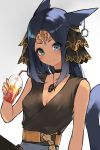 1girl animal_ears arm_rest blue_hair brown_shirt cat_ears collar crossed_legs drink earring_removed facial_mark final_fantasy final_fantasy_xiv grey_skirt hair_ornament heterochromia iced_tea jewelry necklace original sakotach sash shirt sitting skirt smile solo tail thigh-highs tiara