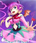 1girl :d breasts commentary_request costume crocell_kerori demon_girl demon_tail demon_wings detached_sleeves dress eyebrows_visible_through_hair fangs frilled_dress frills from_below hair_between_eyes heart heart_tail highres horns idol large_breasts looking_at_viewer mairimashita!_iruma-kun navel navel_cutout open_mouth pink_dress pink_sleeves pointy_ears purple_hair short_hair signature single_detached_sleeve skarameru smile solo tail wig wings