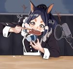 1girl absurdres alternate_costume alternate_hairstyle animal_ears apron arknights artist_request black_dress black_hair bowl chopsticks commentary_request dobermann_(arknights) dog_ears dress eating enmaided food food_on_face highres long_sleeves maid meat microphone open_mouth ponytail pop_filter red_eyes rice rice_bowl rice_on_face solo steak studio_microphone thick_eyebrows waist_apron white_apron