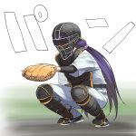 1girl a1 baseball_helmet baseball_jersey baseball_mitt baseball_uniform catcher chest_protector commentary_request helmet knee_pads long_hair love_live! love_live!_school_idol_project low_twintails purple_hair shin_guards simple_background solo sportswear squatting toujou_nozomi twintails white_background