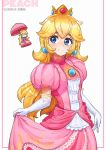 1girl absurdres blonde_hair blue_earrings blue_eyes blush chibi crown dress elbow_gloves eyebrows gloves highres jeomona long_hair mario_(series) pink_dress princess_peach puffy_sleeves sphere_earrings super_smash_bros. umbrella