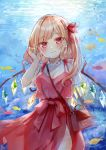 1girl air_bubble animal bag bangs blonde_hair blush bow braid bubble camisole closed_mouth commentary_request crystal day eyebrows_visible_through_hair fish flandre_scarlet hair_bow hand_up handbag head_tilt highres long_hair moko_(mokochisa) one_side_up outdoors red_bow red_camisole red_eyes red_skirt see-through see-through_sleeves shirt short_sleeves shoulder_bag skirt smile solo sunlight touhou underwater water white_shirt wings