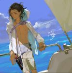 1boy bare_chest black_hair blue_eyes half_updo highres jacket light male_focus nishihara_isao ocean open_clothes open_jacket original shadow shorts smile solo wind