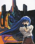 1990s_(style) 1girl aiming_at_viewer blue_eyes blue_hair grey_background gun handgun hands_together highres holding holding_gun holding_weapon long_hair long_sleeves looking_at_viewer mecha mikimoto_haruhiko nataruma official_art orguss_02 revolver scan solo two-handed very_long_hair weapon