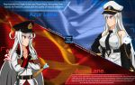 2girls azur_lane blue_eyes breasts cold_war collared_shirt commentary_request communism english_commentary english_text enterprise_(azur_lane) flag gangut_(kancolle) gloves hammer_and_sickle hat highres jacket kantai_collection long_hair long_sleeves military military_uniform multiple_girls parody pleated_skirt politics russian_text self_upload shirt skirt soviet soviet_flag star_(symbol) sword sword_of_stalingrad trung_the_artist_man uniform weapon white_shirt