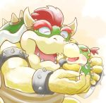 2boys bandana bowser bowser_jr. bracelet chamaji claws closed_eyes commentary_request fangs father_and_son holding_person horns jewelry mario_(series) multiple_boys no_humans open_mouth redhead sharp_teeth shell short_hair simple_background smile spiked_armlet spiked_bracelet spiked_shell spikes teeth