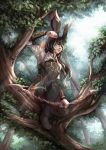 1girl absurdres animal_ears arm_guards arrow_(projectile) bangs black_hair boots bow_(weapon) closed_mouth commission day facial_mark final_fantasy final_fantasy_xiv forest green_eyes highres lips long_hair multicolored_hair nature onyrica outdoors rabbit_ears signature solo swept_bangs thigh-highs thigh_boots tree two-tone_hair viera watermark weapon web_address