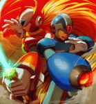 2boys absurdres android arm_cannon blonde_hair blue_eyes capcom closed_mouth energy_blade energy_sword green_eyes helmet highres holding holding_sword holding_weapon huge_filesize male_focus mitsunagami multiple_boys open_mouth rockman rockman_x smoke sword weapon x_(rockman) zero_(rockman)