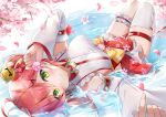 absurdres bell breasts cherry_blossom_print cherry_blossoms detached_sleeves floral_print ginn_(hzh770121) green_eyes hair_bell hair_ornament hairclip highres hololive leg_garter looking_at_viewer lying lying_on_water pink_hair sakura_miko single_thighhigh thigh-highs upside-down virtual_youtuber water white_legwear x_hair_ornament