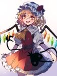 1girl blonde_hair commentary cowboy_shot crystal flandre_scarlet gradient gradient_background hat laevatein medium_hair mob_cap open_mouth pointy_ears puffy_short_sleeves puffy_sleeves red_eyes red_skirt red_vest retota sharp_teeth shirt short_sleeves side_ponytail skirt smile solo teeth touhou vest white_headwear white_shirt wings yellow_neckwear