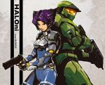 1boy 1girl assault_rifle back-to-back bullpup bungie copyright_name creator_connection crossover dandy gun halo_(game) handgun holding holding_gun holding_weapon konoko ma5 master_chief oni_(game) pistol purple_hair rifle short_hair spartan_(halo) visor weapon
