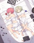 2girls absurdres bare_legs bare_shoulders barefoot bed_sheet black_headwear bloomers book camisole card chess_piece chessboard closed_eyes commentary_request day from_above full_body green_hair hair_ornament hat hat_removed headwear_removed heart heart_hair_ornament highres huge_filesize komeiji_koishi komeiji_satori lying multiple_girls on_back on_bed on_side open_book parted_lips pillow pillow_hug pink_hair playing_card senzaicha_kasukadoki short_hair siblings sisters sleeping strap_slip string third_eye touhou underwear underwear_only window_shade