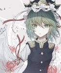 1girl bangs blouse buttons eyebrows_visible_through_hair eyes_visible_through_hair floating_hair flower frilled_hat frills green_eyes green_hair hat hegata_(hegatia_lapis) highres long_sleeves looking_at_viewer red_ribbon ribbon ribbon-trimmed_sleeves ribbon_trim shiki_eiki spider_lily touhou upper_body vest wavy_hair white_ribbon wide_sleeves