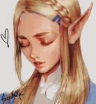 1girl bangs blonde_hair braid closed_eyes commentary crown_braid english_commentary eyelashes face forehead hair_ornament hair_over_shoulder hairclip lips long_hair long_pointy_ears making-of_available nose parted_bangs pointy_ears portrait princess_zelda solo sozomaika the_legend_of_zelda the_legend_of_zelda:_breath_of_the_wild thick_eyebrows white_background