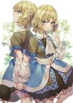 2girls arm_warmers bangs blonde_hair blush brown_dress doppelganger dress evil_smile flower green_eyes hand_up hands_together highres looking_at_viewer misha_(hoongju) mizuhashi_parsee multiple_girls pointy_ears sash scarf smile touhou wavy_hair white_background