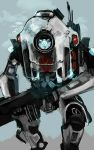 aqua_background blue_eyes clenched_hand glowing glowing_eyes gun highres holding holding_gun holding_weapon mecha no_humans robot solo statham titanfall titanfall_2 tone_(titanfall_2) walking weapon