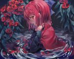 1girl black_shirt blue_bow bow cape cloak earrings flower hair_bow highres jewelry long_sleeves looking_to_the_side misha_(hoongju) open_mouth partially_submerged red_cloak red_eyes red_flower redhead ripples sekibanki shirt short_hair strangling touhou water water_drop wet