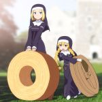2girls angelene bangs baumkuchen black_dress blonde_hair blue_eyes blurry blurry_background blush braid breasts brown_eyes brown_footwear closed_mouth commentary_request day depth_of_field dress eyebrows_visible_through_hair gloves grass habit hair_between_eyes highres holding long_hair long_sleeves lucia_(index) medium_breasts multiple_girls nun open_mouth outdoors parted_bangs shirosato shoes standing to_aru_majutsu_no_index twin_braids twintails v-shaped_eyebrows veil very_long_hair white_footwear white_gloves wide_sleeves
