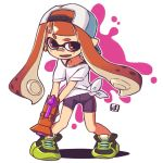 1girl backwards_hat bandaid bandaid_on_nose baseball_cap bike_shorts black_footwear domino_mask earrings fang hat holding inkling jewelry legs_apart mask mawaru_(mawaru) open_mouth orange_eyes orange_hair outline paint_splatter pointy_ears shadow shirt shoes short_sleeves simple_background splatoon_(series) splattershot_jr_(splatoon) standing suction_cups t-shirt tentacle_hair tied_shirt white_background white_headwear white_outline white_shirt