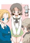 3girls 4girls bangs black_footwear black_hair black_legwear black_neckwear black_ribbon blouse blue_eyes blue_neckwear blue_shirt blue_sweater blush_stickers boko_(girls_und_panzer) braid brown_eyes brown_hair brown_jacket chi-hatan_military_uniform closed_mouth commentary dress_shirt emblem facing_away flying_sweatdrops frown fukuda_(girls_und_panzer) girls_und_panzer glasses green_skirt grey_skirt hair_ribbon helmet holding holding_stuffed_animal jacket keizoku_school_uniform long_hair long_sleeves looking_at_viewer looking_back military military_uniform miniskirt multiple_girls neckerchief necktie one_side_up ooarai_school_uniform orange_hair orange_pekoe_(girls_und_panzer) outside_border pantyhose parted_bangs pink_background pleated_skirt ribbon round_eyewear sailor_collar sawa_azusa school_uniform serafuku shadow shimada_arisu shirt shoes short_hair skirt smile st._gloriana's_(emblem) st._gloriana's_school_uniform standing striped striped_leotard striped_shirt stuffed_animal stuffed_toy sweatdrop sweater tied_hair twitter_username uniform v-neck v_arms vertical-striped_shirt vertical_stripes white_blouse white_sailor_collar white_shirt wing_collar zannen_na_hito