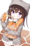 1girl animal_ears animal_hat bag baguette bangs black_legwear black_shirt blush bread brown_hair cheese eating eyebrows_visible_through_hair fake_animal_ears food grey_headwear grey_jacket grocery_bag hair_between_eyes hat holding holding_food jacket long_hair long_sleeves looking_at_viewer object_hug open_clothes open_jacket original paper_bag pleated_skirt sailor_collar school_uniform serafuku shiho_(yuuhagi_(amaretto-no-natsu)) shirt shopping_bag skirt sleeves_past_wrists solo standing thigh-highs violet_eyes white_background white_sailor_collar white_skirt yuuhagi_(amaretto-no-natsu)