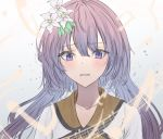 1girl bangs blush collarbone crying dress eyebrows_visible_through_hair eyes_visible_through_hair flower hair_flower hair_ornament hegata_(hegatia_lapis) leaf leaf_hair_ornament long_hair looking_at_viewer musical_note open_mouth pink_flower purple_hair shirt teardrop tears touhou tsukumo_benben upper_body wavy_hair white_dress white_shirt