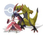 1girl :d absurdres big_hair black_hair bow commentary_request dark_skin dress feet gen_5_pokemon haxorus highres holding holding_poke_ball iris_(pokemon) long_hair open_mouth outstretched_arms pink_bow poke_ball poke_ball_(generic) poke_ball_symbol pokemon pokemon_(creature) pokemon_(game) pokemon_bw2 red_eyes sandals smile teeth teru_zeta tiara toes tongue upper_teeth very_long_hair white_background