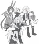 1boy 3girls amiya_(arknights) angel animal_ears arknights artist_request blush bunny_boy bunny_girl carrying_over_shoulder commentary_request doctor embarrassed exusiai_(arknights) food gloves greyscale halo holding_shield hood hooded_jacket jacket jewelry kroos_(arknights) long_hair monochrome multiple_girls multiple_rings onigiri rabbit_ears ring shield short_hair shorts tall_female