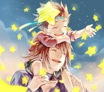 2boys brown_hair carrying closed_eyes father_and_son happy headband itou_(hgrk310) jewelry kratos_aurion lloyd_irving male_focus multiple_boys necklace pendant sitting_on_shoulder smile star_(symbol) tales_of_(series) tales_of_symphonia younger