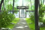 architecture day east_asian_architecture gate grass highres nature no_humans original outdoors path pei_(sumurai) rock rope scenery shide shimenawa torii tree wall