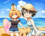 2girls alternate_costume animal_ears bare_shoulders beach black_hair black_shirt blonde_hair blue_eyes bow casual commentary_request denim denim_shorts dress extra_ears fang fang_out fur_trim hat hat_bow highres innertube kaban_(kemono_friends) kemono_friends multiple_girls ocean pink_bow sand serval_(kemono_friends) serval_ears serval_girl serval_tail shirt short_hair short_shorts shorts sleeveless spaghetti_strap striped striped_dress suicchonsuisui sun_hat tail water yellow_eyes